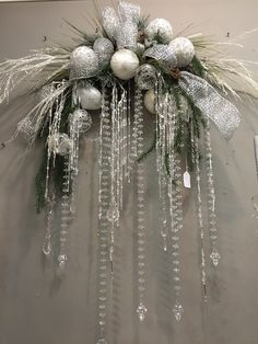 Contact - Contact Christmas swag with hanging crystals Christmas Door Wreaths, Christmas Swags, Silver Christmas, Simple Christmas, Christmas Holidays, Christmas Ornaments, Christmas Floral Arrangements, Christmas Centerpieces, Xmas Decorations