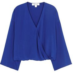 Diane Von Furstenberg Cobalt Wrap-effect Silk Top - Size L (€215) ❤ liked on Polyvore featuring tops, shirts, blouses, drapey tops, silk top, diane von furstenberg, flared sleeve top and drop-shoulder tops