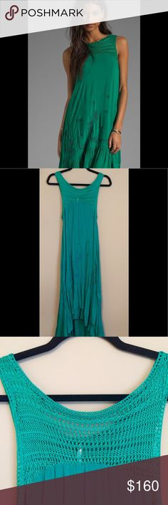💫 Free People Crochet High Low Maxi 💫 ✨ Gorgeous Free People Crochet High Low Maxi, Tiered Ruffle, Embroidered Detail, Flows beautifully! Semi-Sheer.. 100% rayon .. Rare.. Worn by Spencer in Pretty Little Liars! NWOT, Color: Emerald Combo. ✨ Bought for daughters wedding that never happened.. 😏 Free People Dresses