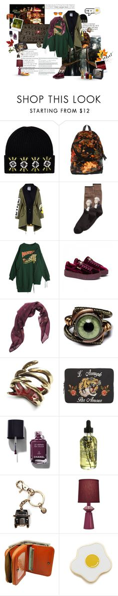 """""""took a moderately wrong turn somewhere"""" by distantfirewaves ❤ liked on Polyvore featuring Markus Lupfer, Eastpak, Moschino, HOT SOX, Puma, RVCA, by / natalie frigo, Bastien, Gucci and Chanel"""