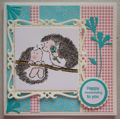 A060 Hand made Anniversary card with Penny Black Caught You stamp