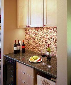#DIY Wine Cork Kitchen Wall