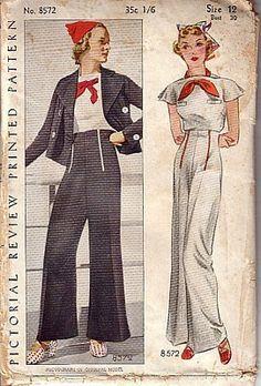 1930's Nautical Influence Hollywood Pants Set
