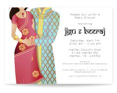 Indian baby shower invitation - Indian couple baby shower invitation.