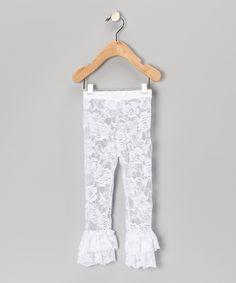 Tutus by Tutu & Lulu - White Floral Lace Leggings - Infant, Toddler & Girls