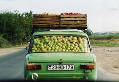 A common sight on Azerbaijan's roads -apples in a Lada