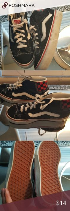 VANS Suede High Tops Boys 1.5 These have been worn a few times I washed them, but did not work on the white sides. Material in great shape, no fading no tears. See Toe edging after washing.  Good shape inside, clean. Red checkerboard on black suede Vans Shoes Sneakers