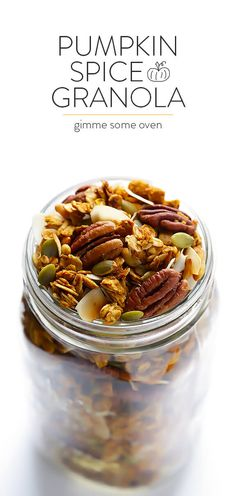 Pumpkin Spice Granola Recipe -- easy to make, sweetened with maple syrup, and wonderfully delicious Pumpkin Recipes, Fall Recipes, Thanksgiving Recipes, Brunch Recipes, Dessert Recipes, Snacks Recipes, Desserts, Easy Granola Recipe, Pumpkin Spice Syrup