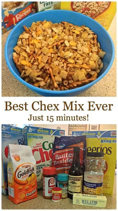 Check out this recipe for the best Chex Mix Ever - done in just 15 minutes. If there's one thing I know how to make, it's Chex mix. My grandma used to make it for family get togethers.