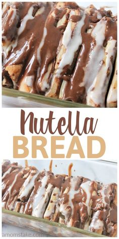 You are going to want to eat this nutella pull-apart bread for breakfast, brunch, and dinner (plus as a dessert). It's so yummy the perfect treat to bring to gatherings. Skip the canned dough, we'll Easy Cake Recipes, Easy Desserts, Sweet Recipes, Delicious Desserts, Dessert Recipes, Bread Recipes, Quick Dessert, Casserole Recipes, Chocolate Cake Recipe Easy