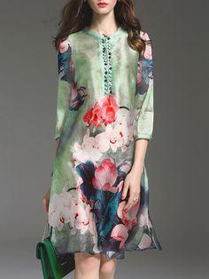 Shop Midi Dresses - Green 3/4 Sleeve A-line Printed Midi Dress online. Discover unique designers fashion at StyleWe.com.