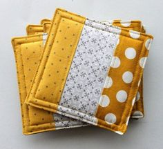 Patchwork Quilted Fabric Coasters 6 pack, Beverage Caddy, You Pick the Colorsâ? With These Minus Fabrics You Can Add Color to Your Snack Tables - Explore Trending Patchwork Quilted Fabric Coasters-- I could do this for window seat and/or piano bench Coa Quilted Coasters, Fabric Coasters, Quilted Potholders, Sewing Hacks, Sewing Crafts, Sewing Tips, Sewing Tutorials, Fabric Scrap Crafts, Sewing Ideas