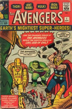The Avengers, Issue No. 1, Marvel Comics. Jack Kirby (penciler, cover), Stan Lee, (writer, editor).