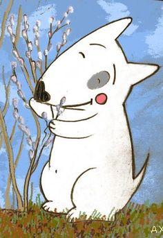 Bull Terrier Ferd under the willow tree. Illustration by the Russian artist Daria Khmelevtseva.