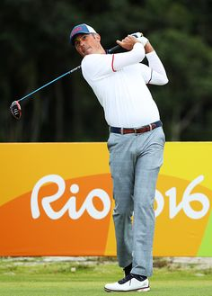 #RIO2016 Matt Kuchar of the United States plays his shot from the third tee during the first round of men's golf on Day 6 of the Rio 2016 Olympics at the...
