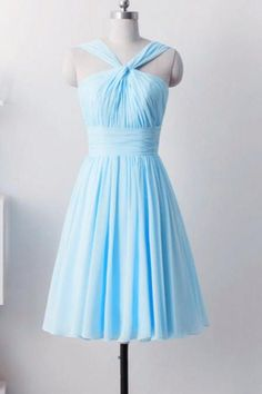 7768eaeaff9d9 Light Blue Bridesmaid Dresses, Short Wedding Party Dresses, Beautiful Simple  Knee Length Prom Dresses