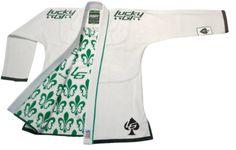 White Fleur-De-Lis Lucky Gi | On the Mat | Worlds Largest Brazilian Jiu Jitsu Gi and No Gi Belt Database