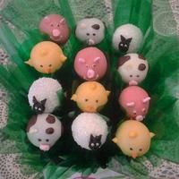Farmyard (pig, cow, sheep and chicken) cake pops by PopCakes of Canberra.
