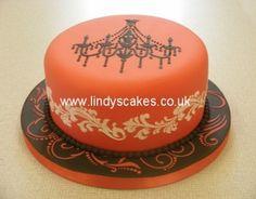 Chandelier stenciled birthday cake