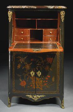 A Louis XV ormolu-mounted black and gilt lacquer secrétaire à abattant circa 1745, stamped I. P. Latz JME Estimate 8,000 — 12,000 USD LOT SOLD. 9,375 USD