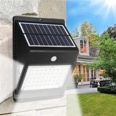 Solar Powered 46 LED PIR Motion Sensor Light Control  Wall Lamp Outdoor Waterproof Security Light