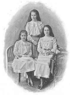 The three youngest daughters of daughter of Archduke Friedrich, Duke of Teschen (1856-1936): Gabriele (standing), Alice, and Isabella (on the right).