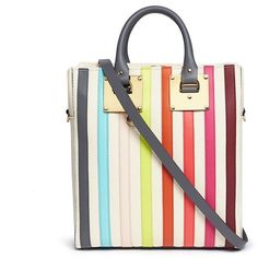 Sophie Hulme 'Cromwell Mini' rainbow stripe canvas tote ($505) ❤ liked on Polyvore featuring bags, handbags, tote bags, tote purses, white purse, white tote bag, handbags totes and striped canvas tote bag