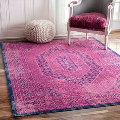 Amazon.com: Traditional Vintage Elaborate Floral Garden Hexagons Pink Area Rugs, (8' x 10'): Kitchen & Dining