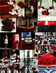 Red and Black Wedding Inspiration Board