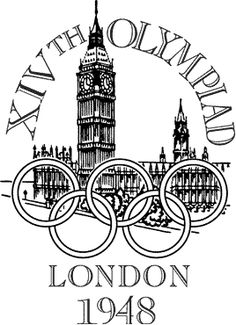 Logo of the 1948 Olympic Games - London, England. London was originally set to host the 1944 Olympic Games but it was cancelled due do World War II.