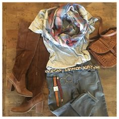 FALL OUTFIT PLANNING:  over the knee suede boots, grey jeans, grey tee, scarf, and leopard!