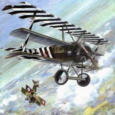 Pinturas aviación Gran Guerra 1914-1918 Jasta 4 Fokker Dr I