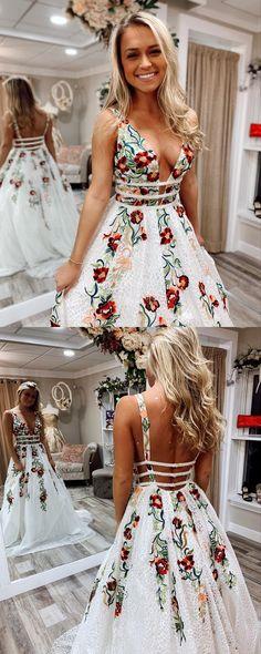 7bda4aaf21c Hanmde Floral Embroidery White Long Prom Dress from modsele. Senior Prom  DressesDate DressesGraduation DressesGirls ...