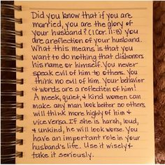 A virtuous woman is a crown to her husband: but she that maketh ashamed is as rottenness in his bones. (Prov. 12:4) #honorhim #kindness