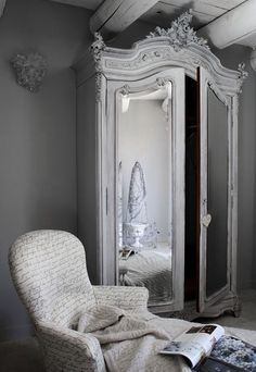 ♅ Dove Gray Home Decor ♅  french armoire in grey