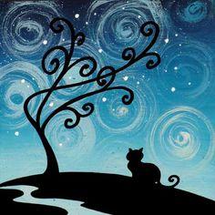 """quadro fiabesco """"gattini""""   cm 15x15   dipinto a mano da Max e Elena Panizza   www.panizza.info"""