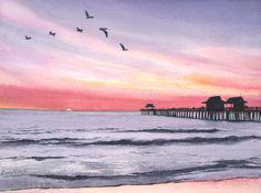 """""""Naples Sunset"""" Original Watercolor, Image of Naples Pier, Naples Florida"""
