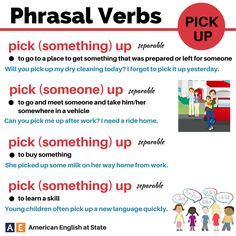 "phrasal verbs with ""pick up"" English Idioms, English Phrases, Learn English Words, English Writing, English Study, English Grammar, Teaching English, English Language Learners, Education English"