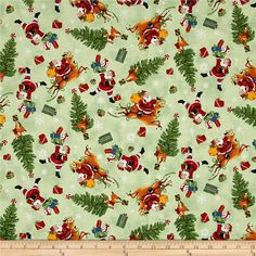 Christmas Trees Stag Deer Snowflake Holly Red Cotton Fabric Craft Quilting FQ