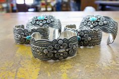 Fancy Silver and a few small turquoise cabs by Darrell Cadman from Perry Null Trading