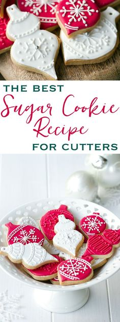 The perfect sugar cookies that never lose their shape. The best sugar cookie recipe for making cookie cutter cookies - so simple and delicious! (And the cookies keep their perfect shape! Best Sugar Cookies, Christmas Sugar Cookies, Sugar Cookies Recipe, Holiday Cookies, Summer Cookies, Valentine Cookies, Easter Cookies, Sugar Biscuits Recipe, Simple Sugar Cookie Recipe