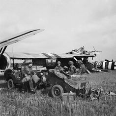 The British Airborne Division At Arnhem And Oosterbeek In Holland, HQ of 1st Airlanding Light Regiment, Royal Artillery, unload a jeep and trailer from their Horsa glider at the landing zone near Wolfheze in Holland, during Operation 'Market Garden', 17 September 1944.