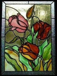 Tulips Stained Glass Panel.