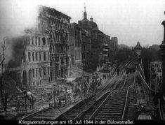 1944 Berlin - Kriegszerstörung: Die Bahnstrecke an der Bülowstraße war im Jahr 1944 nach Bombenangriffen nicht mehr befahrbar. ☺