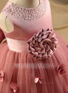 A-Line/Princess Scoop Neck Knee-length Flower(s) Bow(s) Rhinestone Polyester Cotton Sleeveless Flower Girl Dress Flower Girl Dress