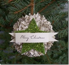 Shabby Ornament...made out of old book pages or scrapping paper.