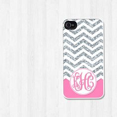 Personalized iPhone Case, iPhone 4, iPhone 5, Samsung Galaxy S3, Chevron Silver Glitter and Pink Script Monogram, Phone Case (368) via Etsy