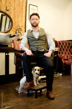 Meet Barry the barber and Beans the dog.