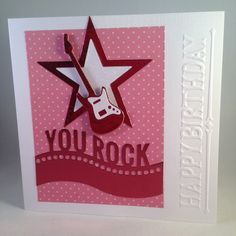 You Rock! Guitar/Star/Music Birthday card - pinned by pin4etsy.com