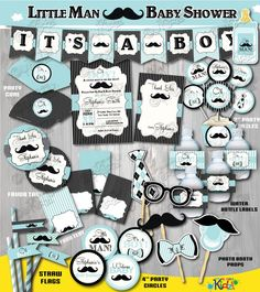 On Sale! Printable Little Man Baby Shower Package, Mustache Baby Shower, Mustache Party Decoration, Little Man Baby Shower Decorations by ItsAllAboutKidz on Etsy https://www.etsy.com/listing/231260335/on-sale-printable-little-man-baby-shower